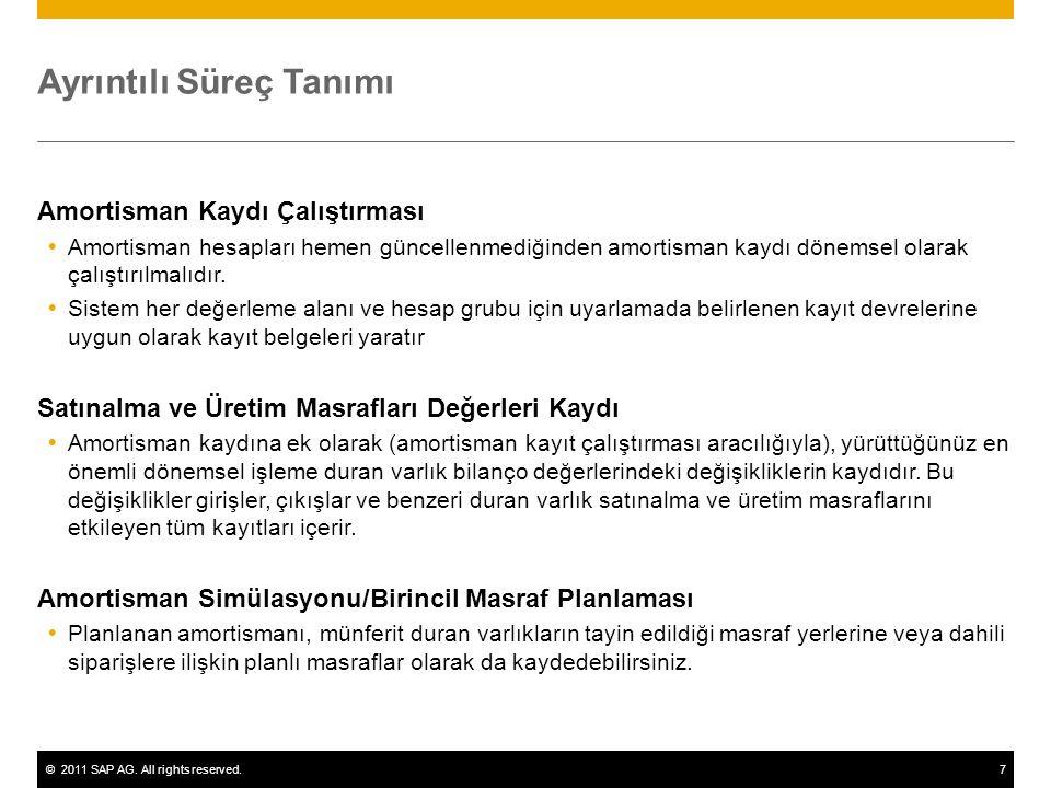 ©2011 SAP AG. All rights reserved.7 Ayrıntılı Süreç Tanımı Amortisman Kaydı Çalıştırması  Amortisman hesapları hemen güncellenmediğinden amortisman k