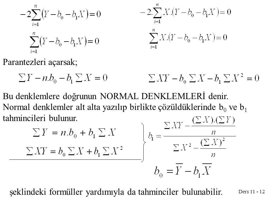 Ders 11 - 12 Parantezleri açarsak; Bu denklemlere doğrunun NORMAL DENKLEMLERİ denir. Normal denklemler alt alta yazılıp birlikte çözüldüklerinde b 0 v