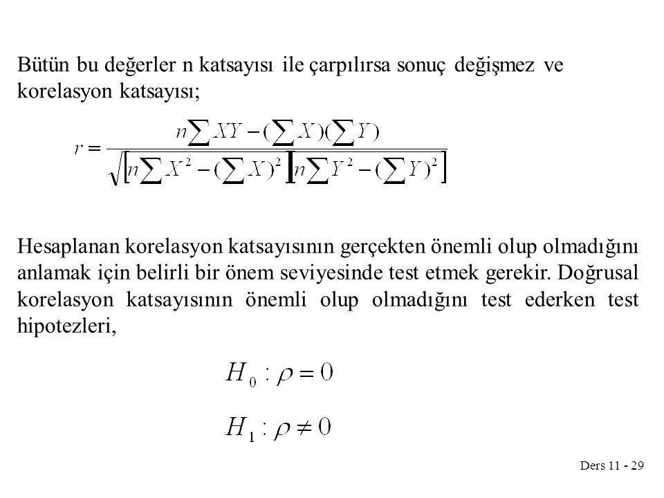 Ders 11 - 29 Bütün bu değerler n katsayısı ile çarpılırsa sonuç değişmez ve korelasyon katsayısı; Hesaplanan korelasyon katsayısının gerçekten önemli