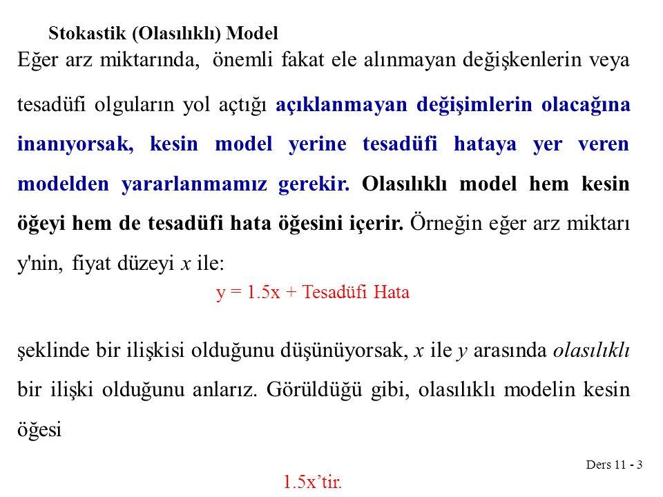 Ders 11 - 3 Stokastik (Olasılıklı) Model Eğer arz miktarında, önemli fakat ele alınmayan değişkenlerin veya tesadüfi olguların yol açtığı açıklanmayan