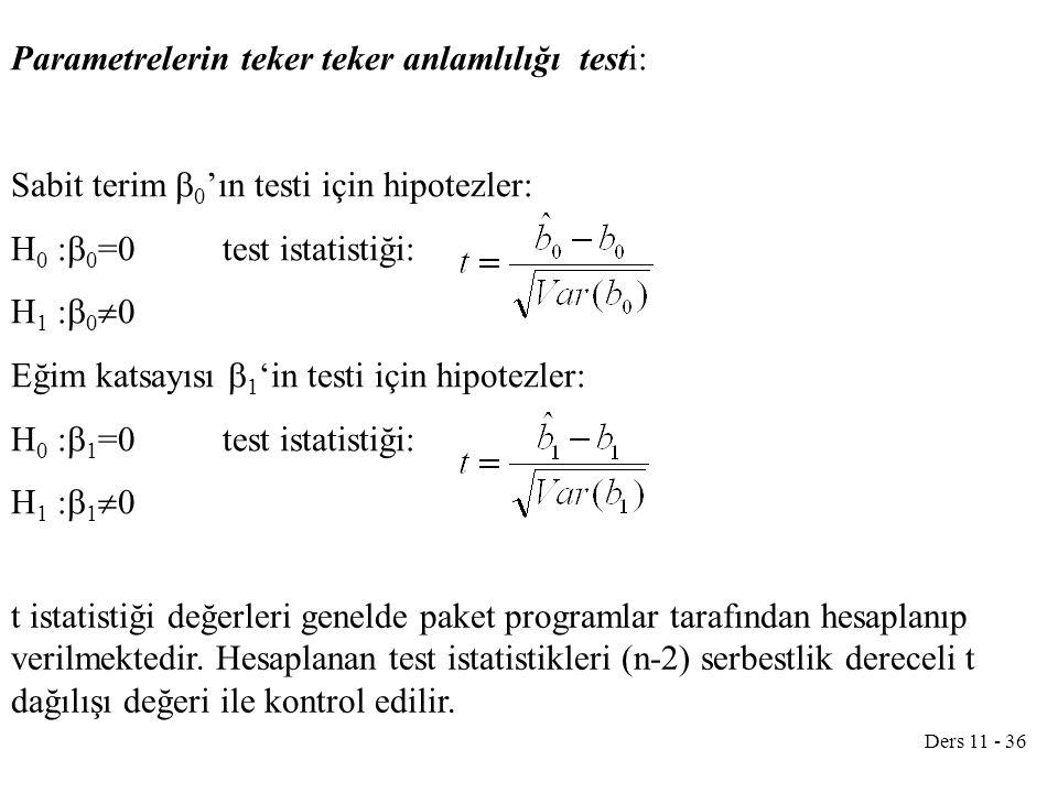 Ders 11 - 36 Parametrelerin teker teker anlamlılığı testi: Sabit terim  0 'ın testi için hipotezler: H 0 :  0 =0test istatistiği: H 1 :  0  0 Eğim