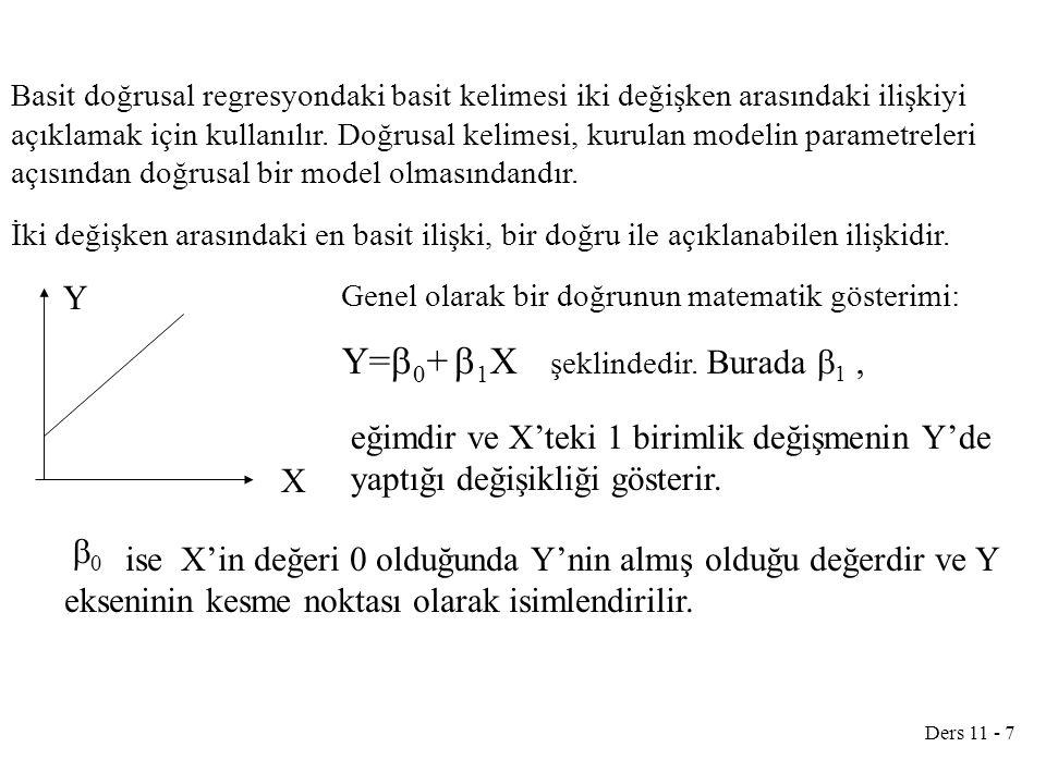 Ders 11 - 18 72725 =12b 0 +42b 1 72725 =12b 0 +42*1390 b 0 = 1195 Doğrunun denklemi: Hesaplanan bu denklem kullanılarak yaşını bildiğimiz bir tır için yapılacak ortalama bakım masrafını tahmin edebiliriz.