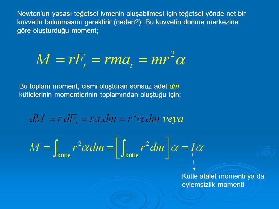 Newton'un yasası teğetsel ivmenin oluşabilmesi için teğetsel yönde net bir kuvvetin bulunmasını gerektirir (neden?). Bu kuvvetin dönme merkezine göre