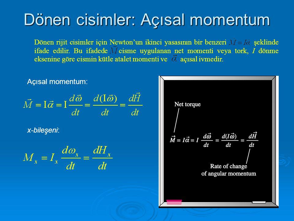 Dönen cisimler: Açısal momentum Dönen rijit cisimler için Newton'un ikinci yasasının bir benzeri şeklinde ifade edilir. Bu ifadede cisme uygulanan net