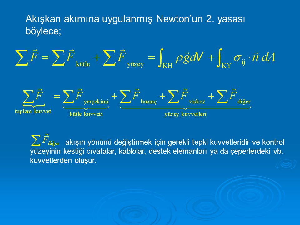 Akışkan akımına uygulanmış Newton'un 2. yasası böylece; akışın yönünü değiştirmek için gerekli tepki kuvvetleridir ve kontrol yüzeyinin kestiği cıvata