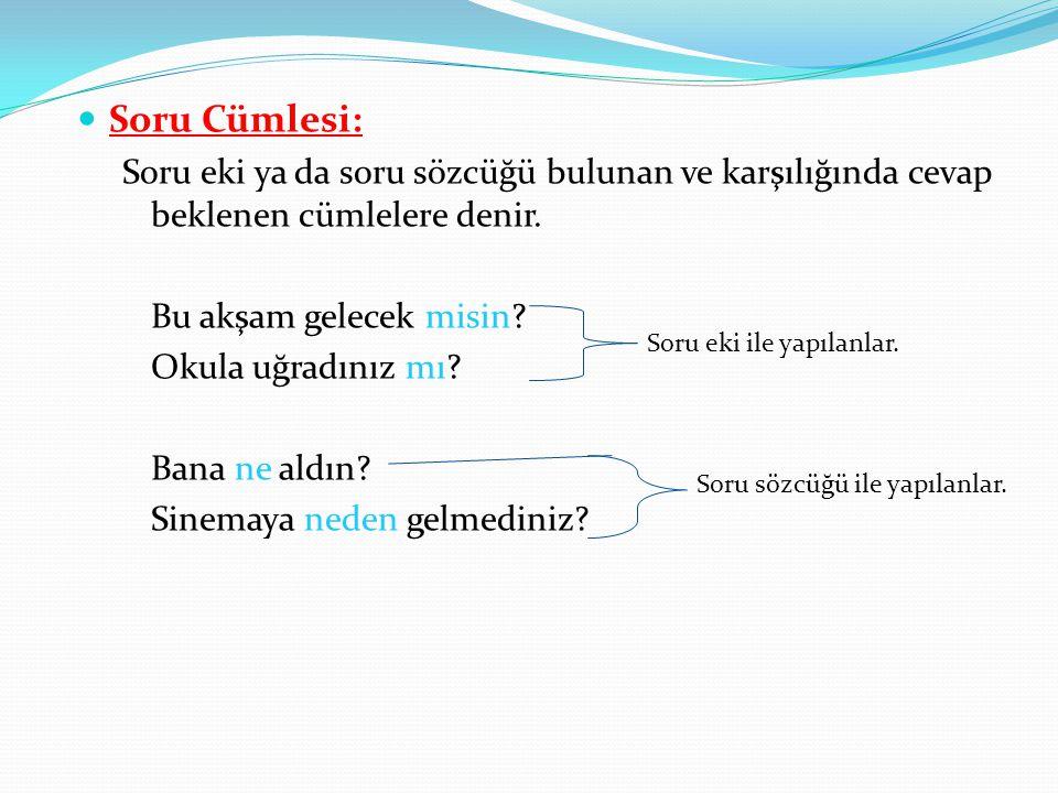 Soru Cümlesi: Soru eki ya da soru sözcüğü bulunan ve karşılığında cevap beklenen cümlelere denir.