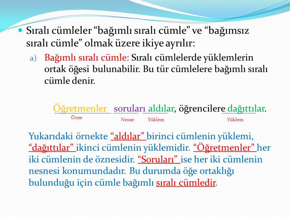 Sıralı cümleler bağımlı sıralı cümle ve bağımsız sıralı cümle olmak üzere ikiye ayrılır: a) Bağımlı sıralı cümle: Sıralı cümlelerde yüklemlerin ortak öğesi bulunabilir.
