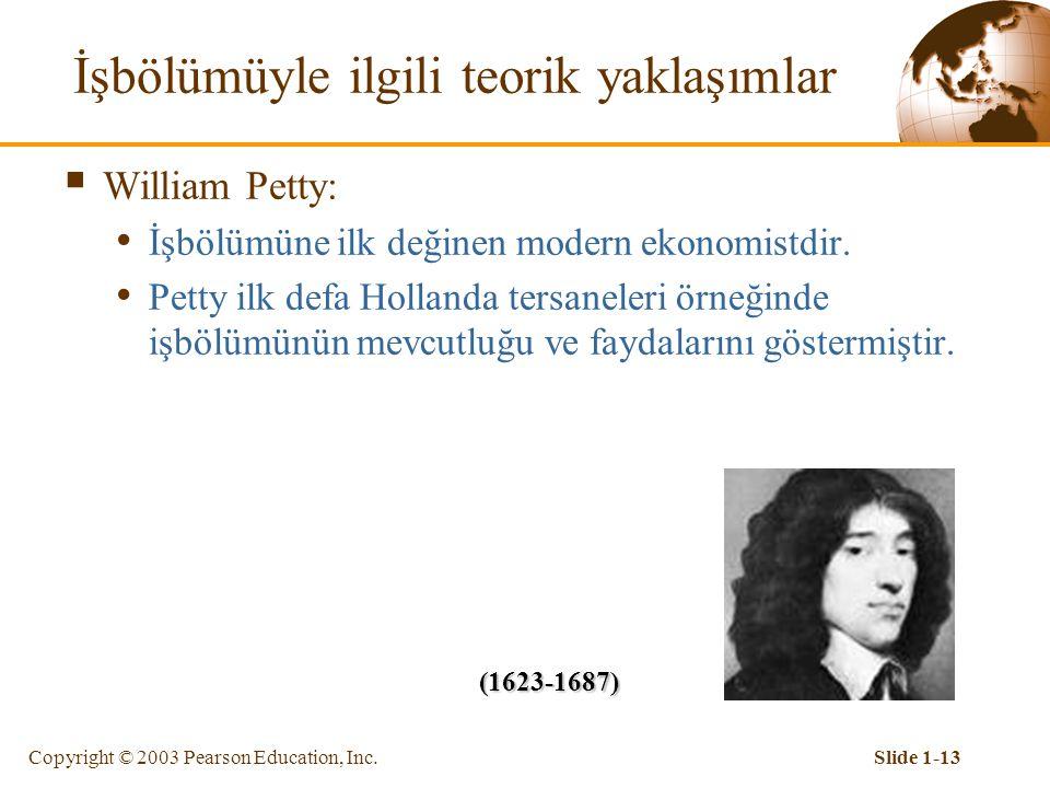 """Copyright © 2003 Pearson Education, Inc.Slide 1-12 İşbölümüyle ilgili teorik yaklaşımlar  Platon: """"Cumhuriyet"""" isimli eserinde devletin kökeninde işb"""