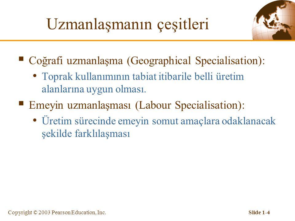 Copyright © 2003 Pearson Education, Inc.Slide 1-3 Giriş  İşbölümü (division of labour) uzmanlaşma türüdür.