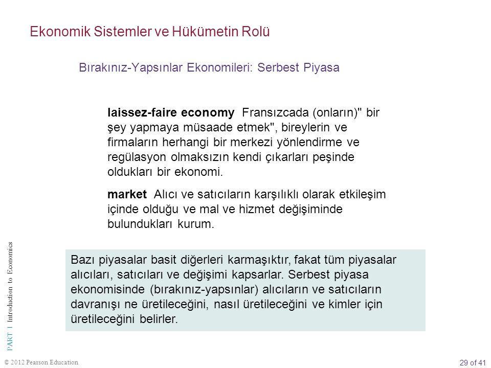 29 of 41 PART I Introduction to Economics © 2012 Pearson Education laissez-faire economy Fransızcada (onların)