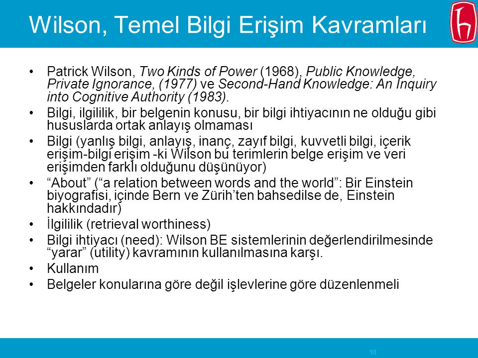10 Wilson, Temel Bilgi Erişim Kavramları Patrick Wilson, Two Kinds of Power (1968), Public Knowledge, Private Ignorance, (1977) ve Second-Hand Knowled