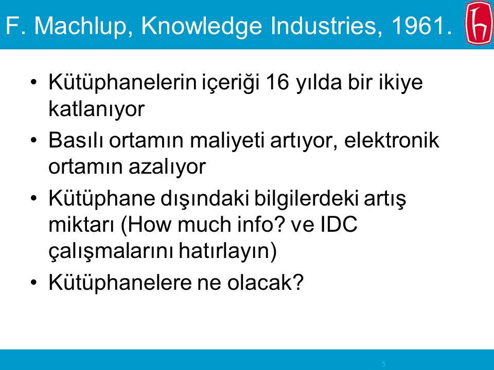 5 F. Machlup, Knowledge Industries, 1961. Kütüphanelerin içeriği 16 yılda bir ikiye katlanıyor Basılı ortamın maliyeti artıyor, elektronik ortamın aza