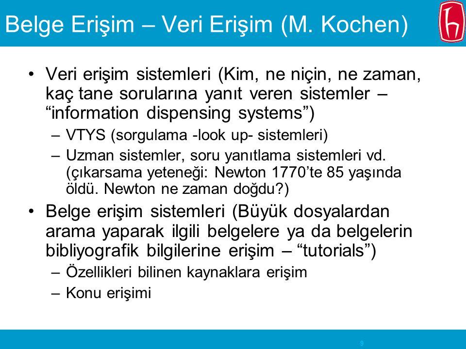 """9 Belge Erişim – Veri Erişim (M. Kochen) Veri erişim sistemleri (Kim, ne niçin, ne zaman, kaç tane sorularına yanıt veren sistemler – """"information dis"""