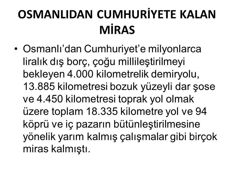 OSMANLIDAN CUMHURİYETE KALAN MİRAS Osmanlı'dan Cumhuriyet'e milyonlarca liralık dış borç, çoğu millileştirilmeyi bekleyen 4.000 kilometrelik demiryolu, 13.885 kilometresi bozuk yüzeyli dar şose ve 4.450 kilometresi toprak yol olmak üzere toplam 18.335 kilometre yol ve 94 köprü ve iç pazarın bütünleştirilmesine yönelik yarım kalmış çalışmalar gibi birçok miras kalmıştı.