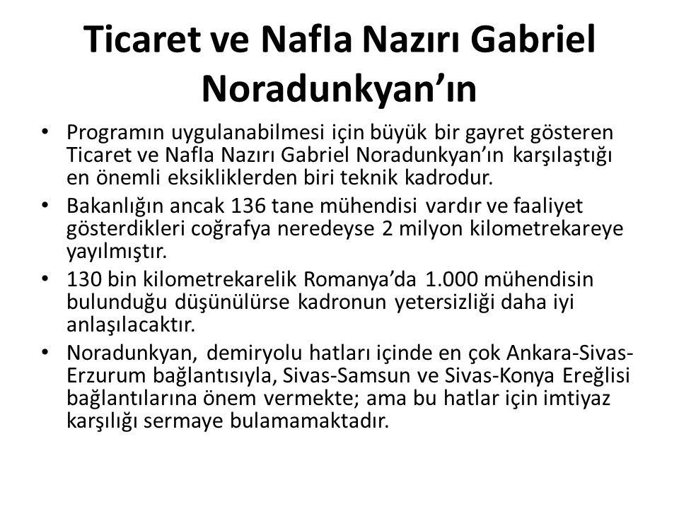 Ticaret ve NafIa Nazırı Gabriel Noradunkyan'ın Programın uygulanabilmesi için büyük bir gayret gösteren Ticaret ve NafIa Nazırı Gabriel Noradunkyan'ın karşılaştığı en önemli eksikliklerden biri teknik kadrodur.