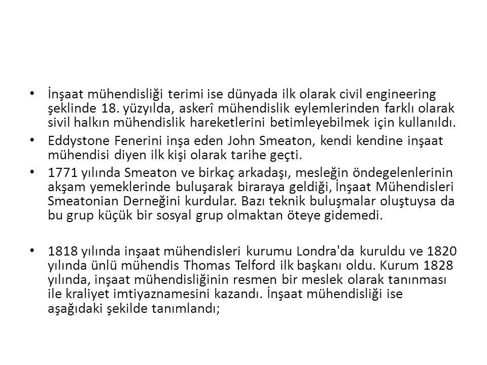 İnşaat mühendisliği terimi ise dünyada ilk olarak civil engineering şeklinde 18.