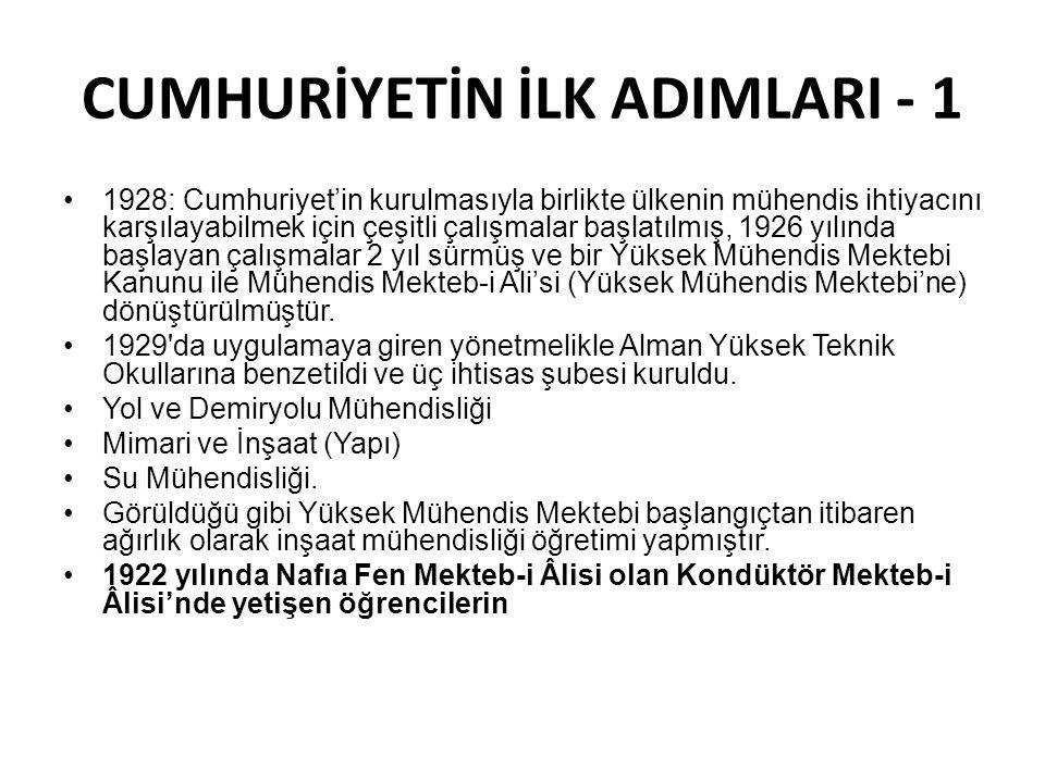 CUMHURİYETİN İLK ADIMLARI - 1 1928: Cumhuriyet'in kurulmasıyla birlikte ülkenin mühendis ihtiyacını karşılayabilmek için çeşitli çalışmalar başlatılmış, 1926 yılında başlayan çalışmalar 2 yıl sürmüş ve bir Yüksek Mühendis Mektebi Kanunu ile Mühendis Mekteb-i Ali'si (Yüksek Mühendis Mektebi'ne) dönüştürülmüştür.