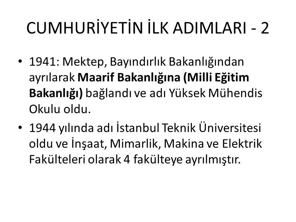 CUMHURİYETİN İLK ADIMLARI - 2 1941: Mektep, Bayındırlık Bakanlığından ayrılarak Maarif Bakanlığına (Milli Eğitim Bakanlığı) bağlandı ve adı Yüksek Mühendis Okulu oldu.