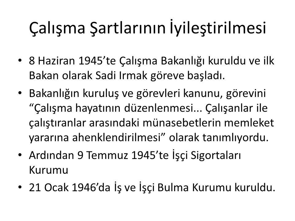 Çalışma Şartlarının İyileştirilmesi 8 Haziran 1945'te Çalışma Bakanlığı kuruldu ve ilk Bakan olarak Sadi Irmak göreve başladı.