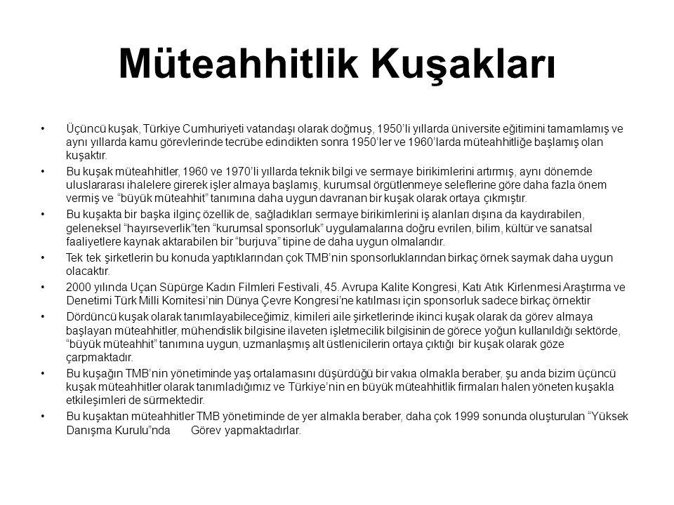 Müteahhitlik Kuşakları Üçüncü kuşak, Türkiye Cumhuriyeti vatandaşı olarak doğmuş, 1950'li yıllarda üniversite eğitimini tamamlamış ve aynı yıllarda kamu görevlerinde tecrübe edindikten sonra 1950'ler ve 1960'larda müteahhitliğe başlamış olan kuşaktır.