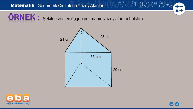 2 Şekilde verilen üçgen prizmanın yüzey alanını bulalım.