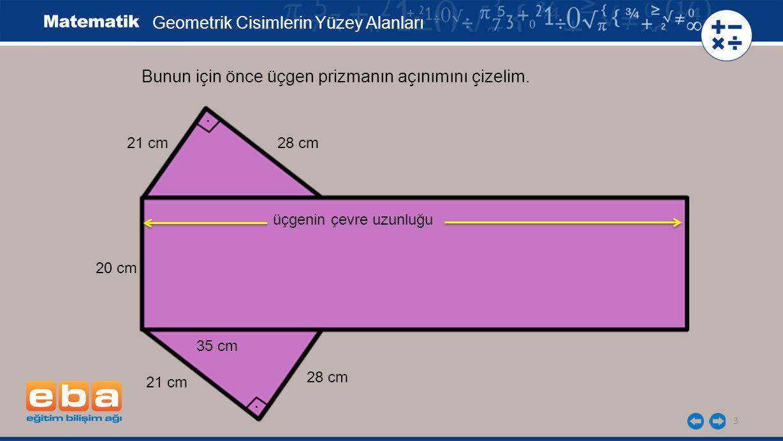 3 Bunun için önce üçgen prizmanın açınımını çizelim...