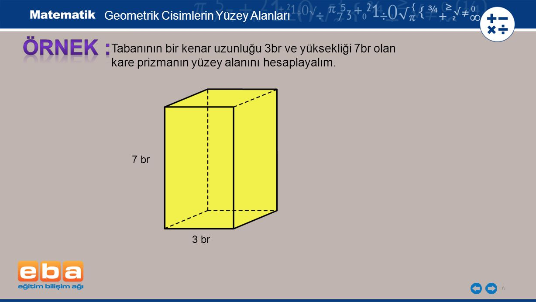 6 Tabanının bir kenar uzunluğu 3br ve yüksekliği 7br olan kare prizmanın yüzey alanını hesaplayalım.