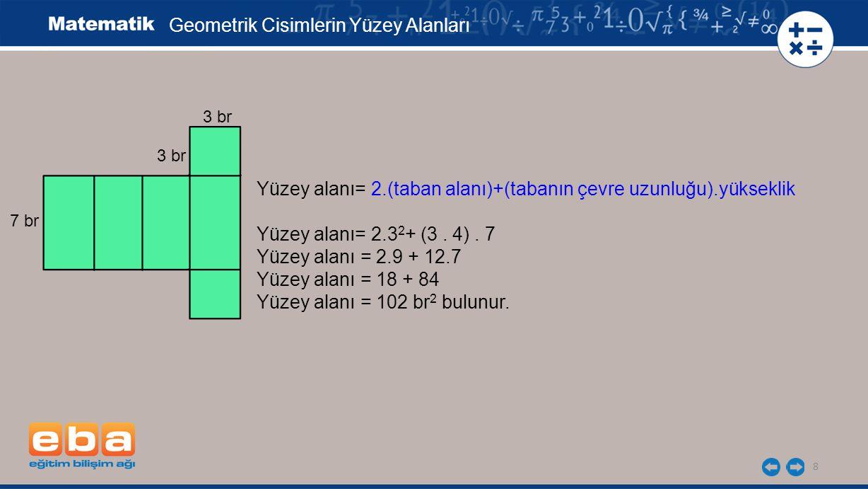 8 Yüzey alanı= 2.(taban alanı)+(tabanın çevre uzunluğu).yükseklik Yüzey alanı= 2.3 2 + (3.