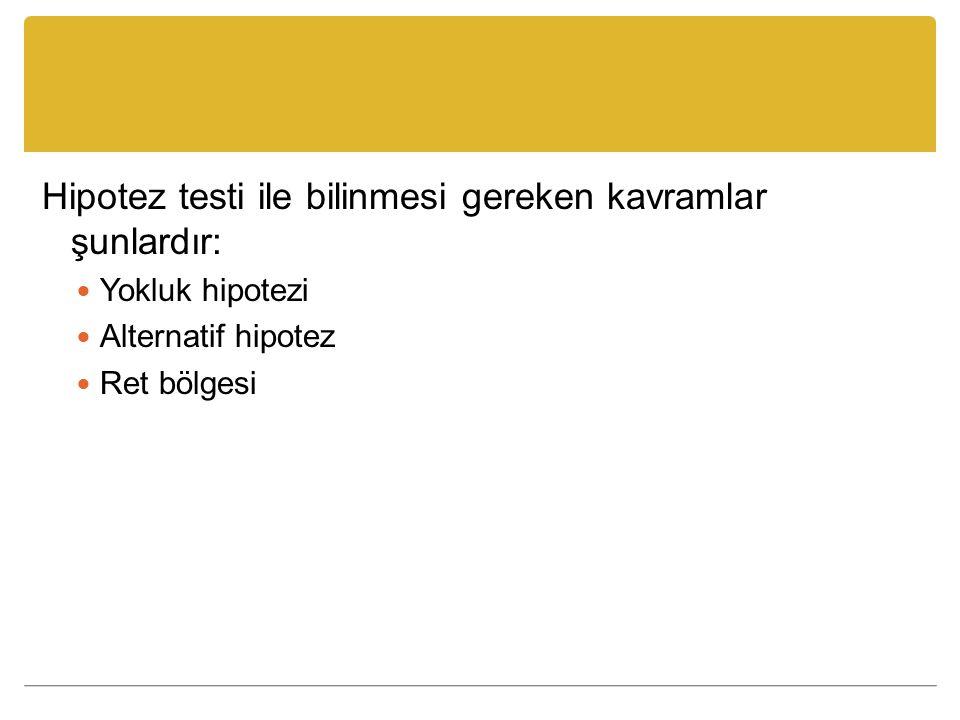 Hipotez testi ile bilinmesi gereken kavramlar şunlardır: Yokluk hipotezi Alternatif hipotez Ret bölgesi