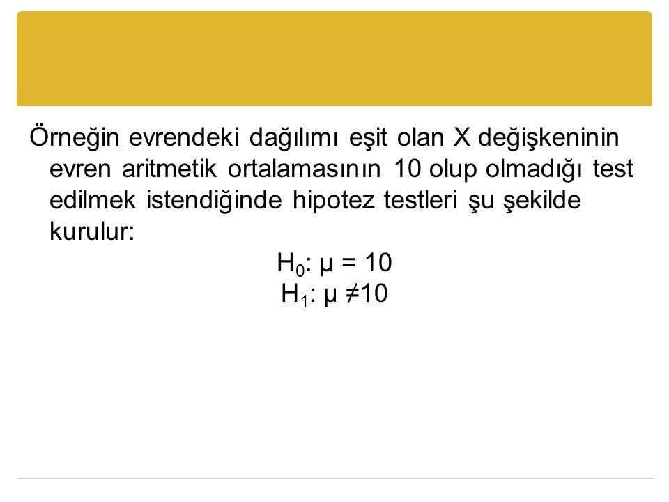 Örneğin evrendeki dağılımı eşit olan X değişkeninin evren aritmetik ortalamasının 10 olup olmadığı test edilmek istendiğinde hipotez testleri şu şekil