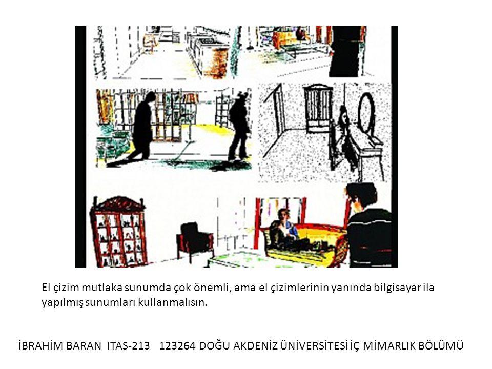 İBRAHİM BARAN ITAS-213 123264 DOĞU AKDENİZ ÜNİVERSİTESİ İÇ MİMARLIK BÖLÜMÜ El çizim mutlaka sunumda çok önemli, ama el çizimlerinin yanında bilgisayar