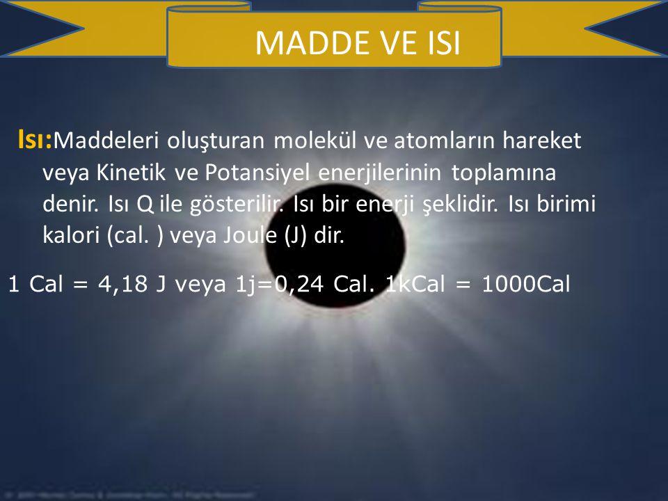 Isı: Maddeleri oluşturan molekül ve atomların hareket veya Kinetik ve Potansiyel enerjilerinin toplamına denir.