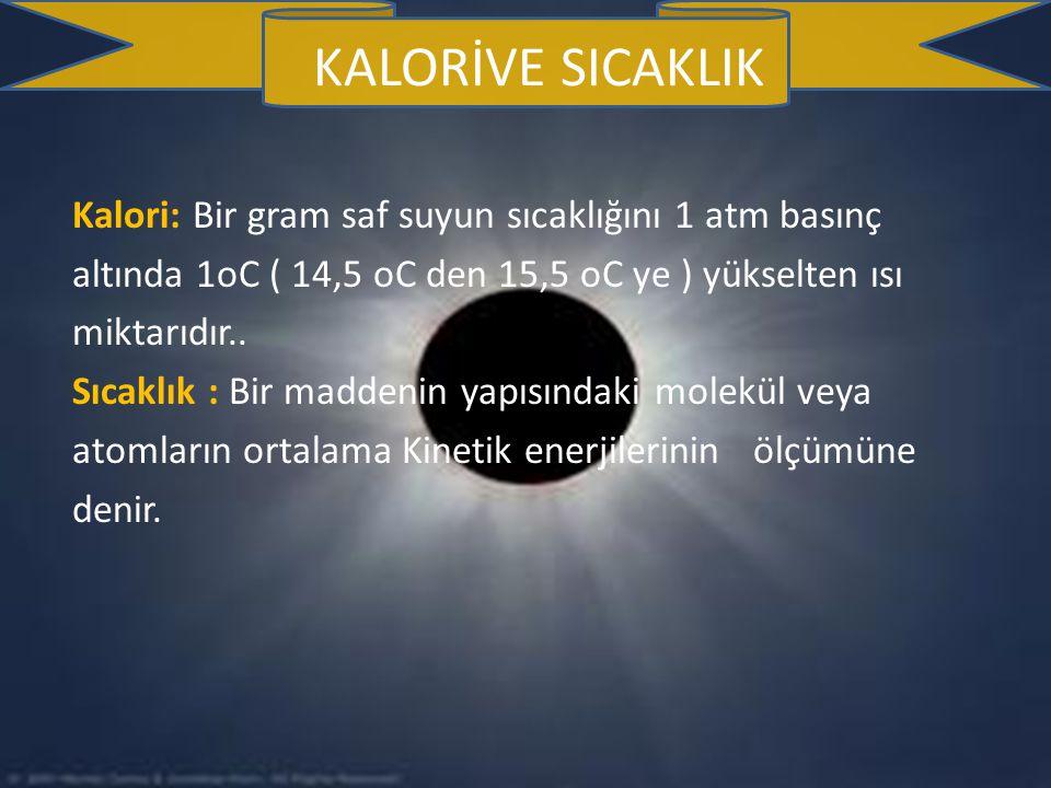 KALORİVE SICAKLIK Kalori: Bir gram saf suyun sıcaklığını 1 atm basınç altında 1oC ( 14,5 oC den 15,5 oC ye ) yükselten ısı miktarıdır..