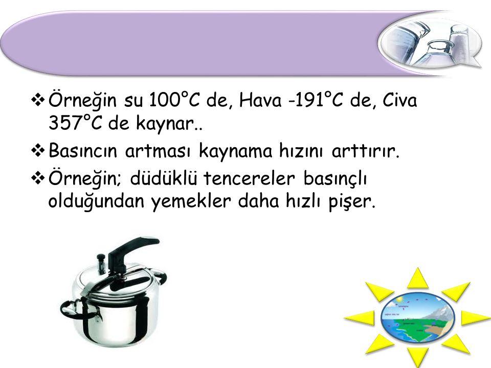  Örneğin su 100°C de, Hava -191°C de, Civa 357°C de kaynar..  Basıncın artması kaynama hızını arttırır.  Örneğin; düdüklü tencereler basınçlı olduğ