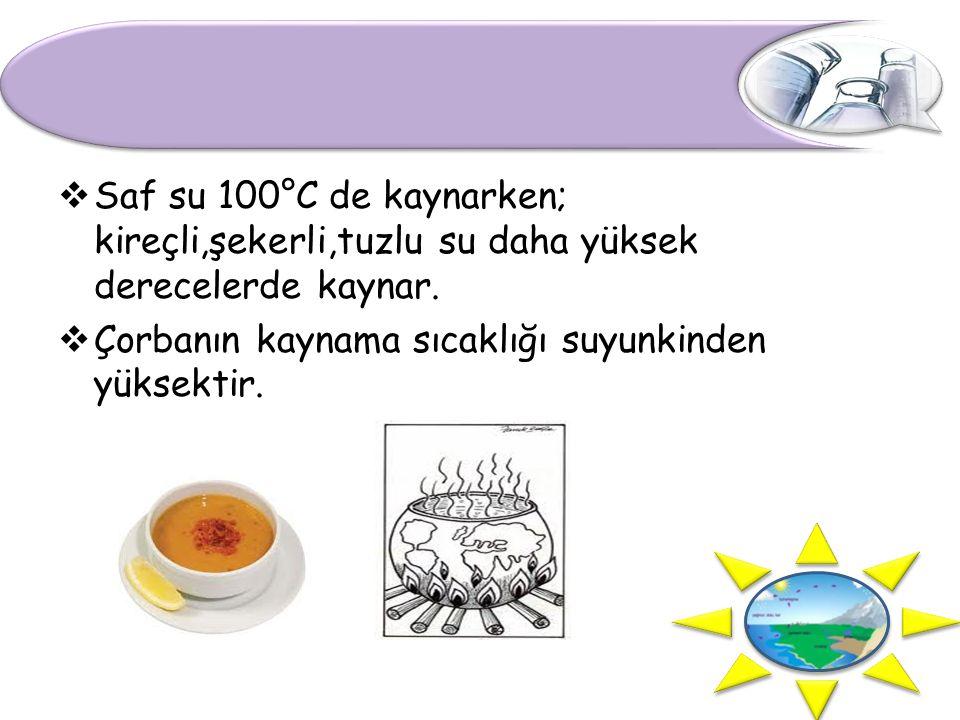  Saf su 100°C de kaynarken; kireçli,şekerli,tuzlu su daha yüksek derecelerde kaynar.  Çorbanın kaynama sıcaklığı suyunkinden yüksektir.