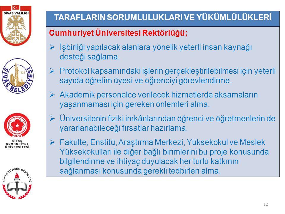 12 TARAFLARIN SORUMLULUKLARI VE YÜKÜMLÜLÜKLERİ Cumhuriyet Üniversitesi Rektörlüğü;  İşbirliği yapılacak alanlara yönelik yeterli insan kaynağı desteği sağlama.