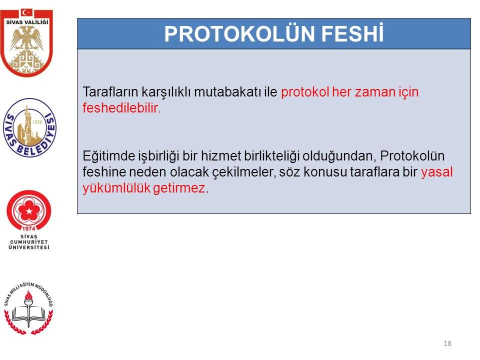 18 PROTOKOLÜN FESHİ Tarafların karşılıklı mutabakatı ile protokol her zaman için feshedilebilir.