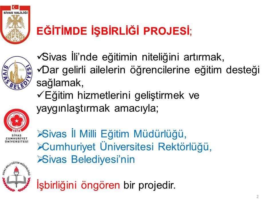 2 EĞİTİMDE İŞBİRLİĞİ PROJESİ; Sivas İli'nde eğitimin niteliğini artırmak, Dar gelirli ailelerin öğrencilerine eğitim desteği sağlamak, Eğitim hizmetlerini geliştirmek ve yaygınlaştırmak amacıyla;  Sivas İl Milli Eğitim Müdürlüğü,  Cumhuriyet Üniversitesi Rektörlüğü,  Sivas Belediyesi'nin İşbirliğini öngören bir projedir.