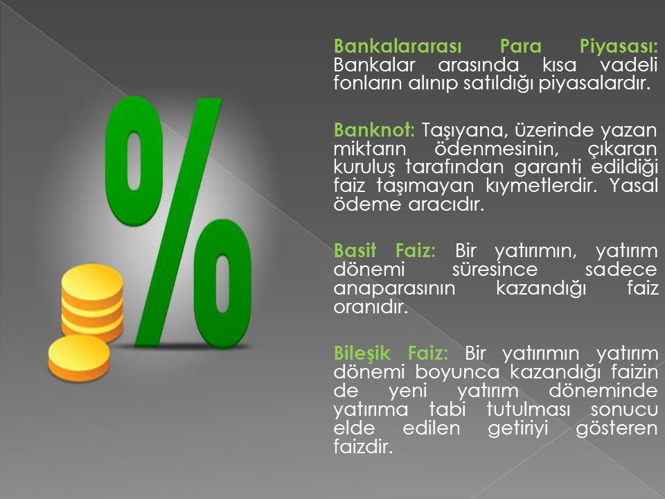Bankalararası Para Piyasası: Bankalar arasında kısa vadeli fonların alınıp satıldığı piyasalardır. Banknot: Taşıyana, üzerinde yazan miktarın ödenmesi
