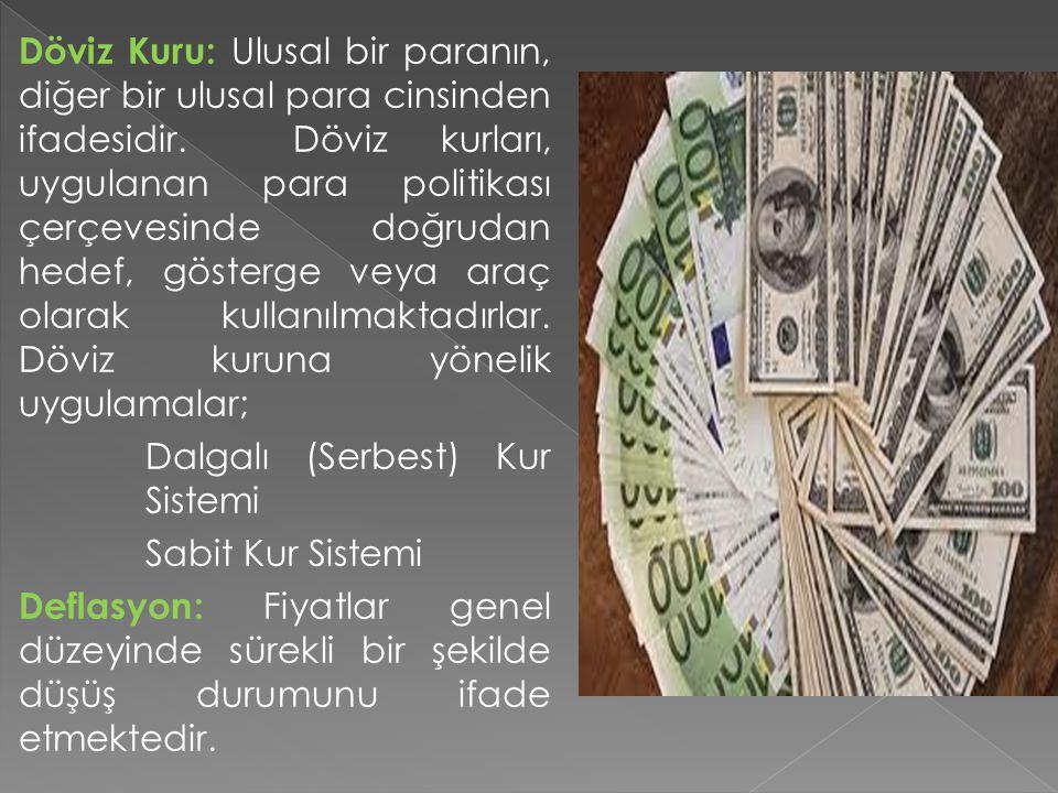 Döviz Kuru: Ulusal bir paranın, diğer bir ulusal para cinsinden ifadesidir. Döviz kurları, uygulanan para politikası çerçevesinde doğrudan hedef, göst