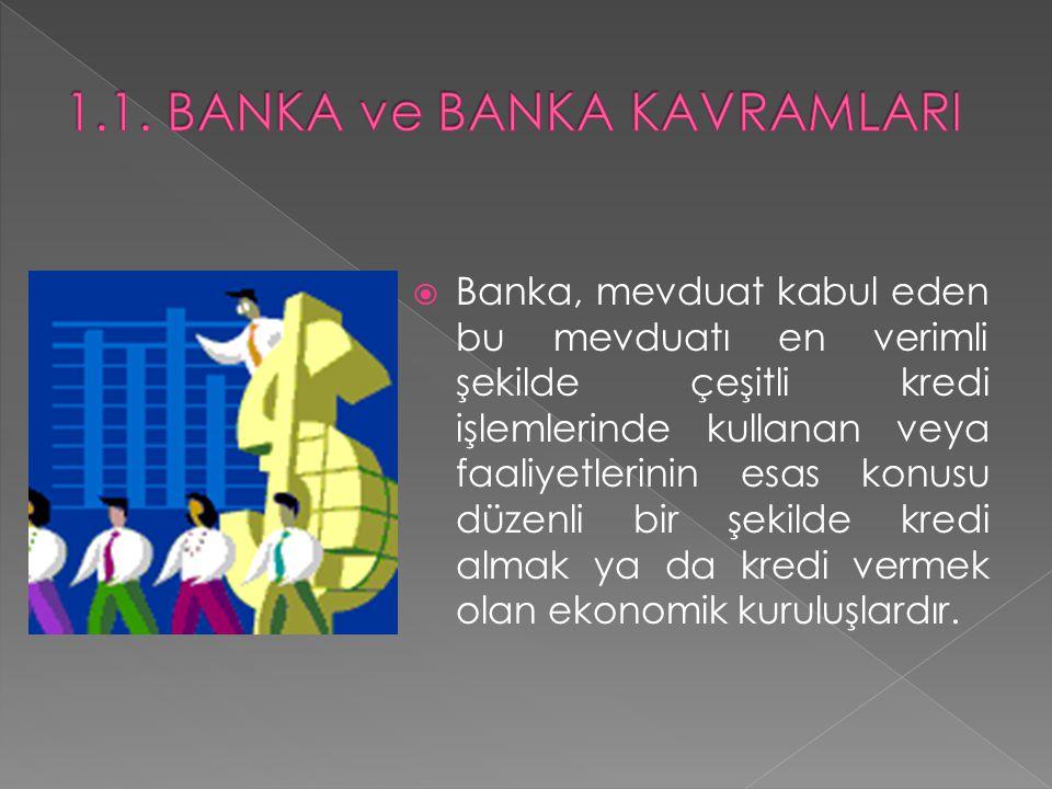  Ekonomik anlamda banka kavramının tanımı ise şöyle yapılmaktadır: Ekonomiye banknot ve kaydi para gibi ödeme araçları sağlayan, nakdi sermaye ve sermayeyi temsil eden haklarla (taşınır değerlerle) ilgili ticareti meslek haline getiren ve özellikle nakit kullanılmaksızın yürütülen başkaca finansal hizmetleri ve ödeme işlemlerini yapan, özel ya da kamu kuruluşlarıdır.
