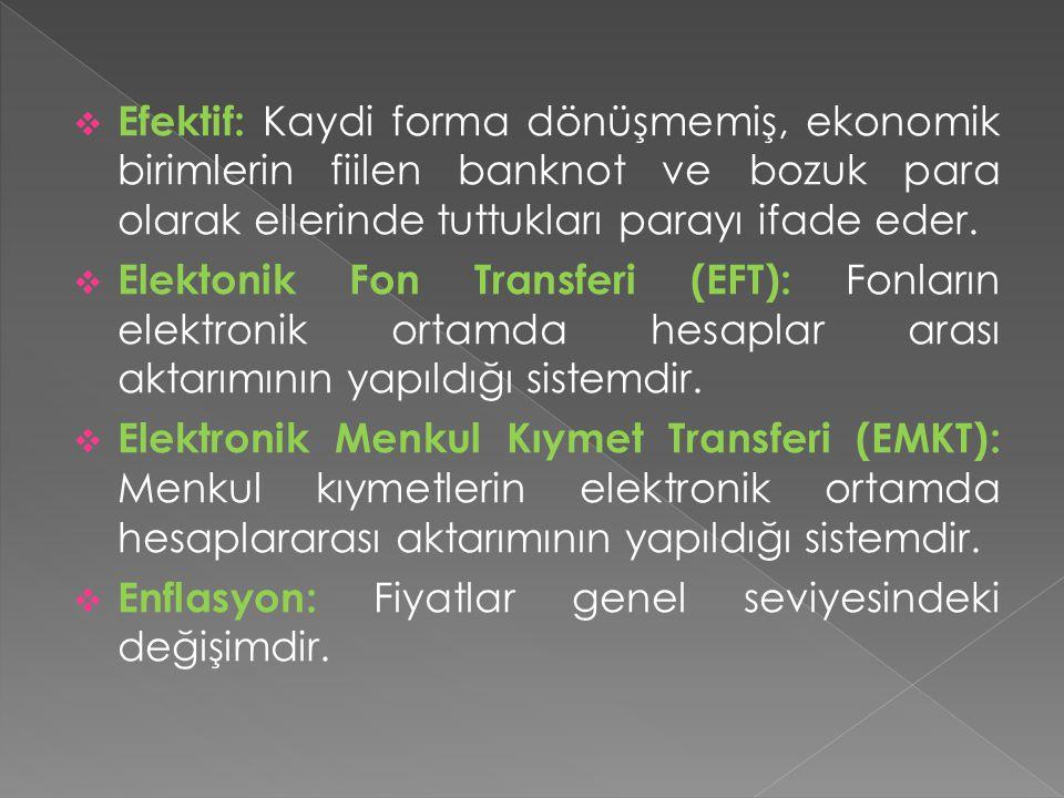  Efektif: Kaydi forma dönüşmemiş, ekonomik birimlerin fiilen banknot ve bozuk para olarak ellerinde tuttukları parayı ifade eder.  Elektonik Fon Tra