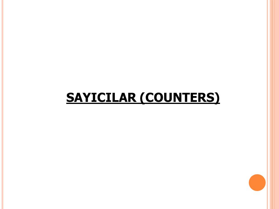SAYICILAR (COUNTERS)