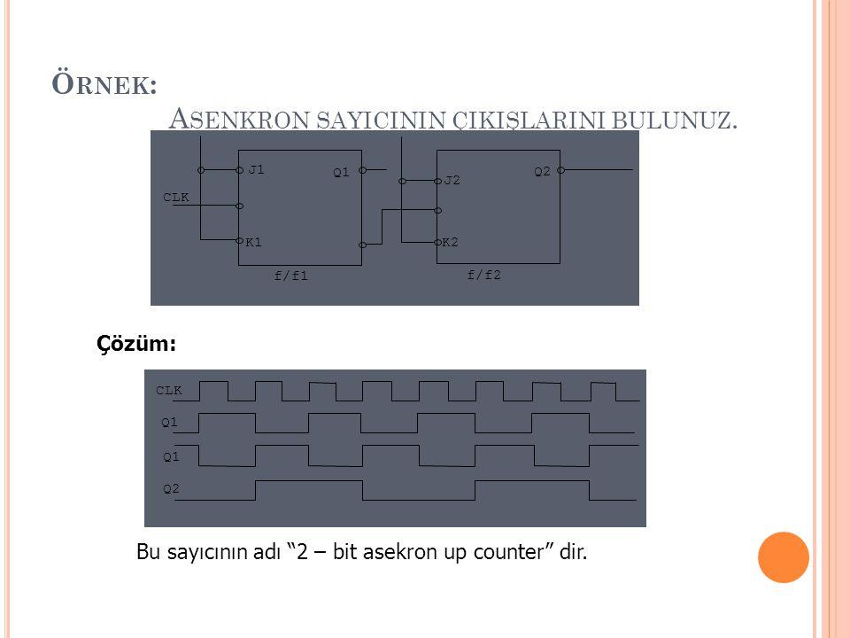 """Ö RNEK : A SENKRON SAYICININ ÇIKIŞLARINI BULUNUZ. f/f2 f/f1 K2 J2 K1 J1 Q2 Q1 CLK Çözüm: Q2 Q1 CLK Q1 Bu sayıcının adı """"2 – bit asekron up counter"""" di"""
