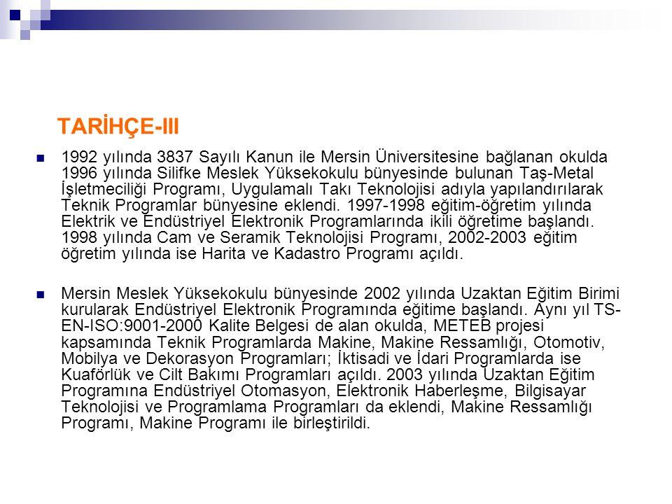 TARİHÇE-III 1992 yılında 3837 Sayılı Kanun ile Mersin Üniversitesine bağlanan okulda 1996 yılında Silifke Meslek Yüksekokulu bünyesinde bulunan Taş-Metal İşletmeciliği Programı, Uygulamalı Takı Teknolojisi adıyla yapılandırılarak Teknik Programlar bünyesine eklendi.