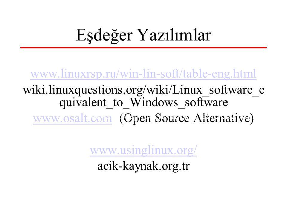 Eşdeğer Yazılımlar www.linuxrsp.ru/win-lin-soft/table-eng.html wiki.linuxquestions.org/wiki/Linux_software_e quivalent_to_Windows_software www.osalt.comwww.osalt.com (Open Source Alternative) www.usinglinux.org/ acik-kaynak.org.tr www.linuxrsp.ru/win-lin-soft/table-eng.html