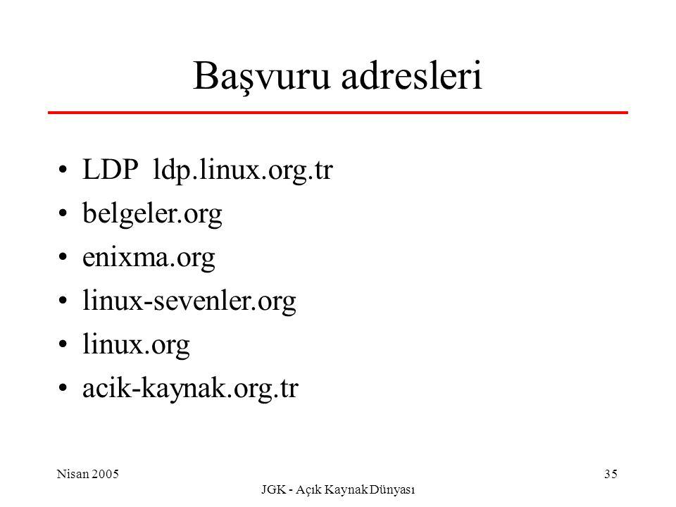 Nisan 2005 JGK - Açık Kaynak Dünyası 35 Başvuru adresleri LDP ldp.linux.org.tr belgeler.org enixma.org linux-sevenler.org linux.org acik-kaynak.org.tr