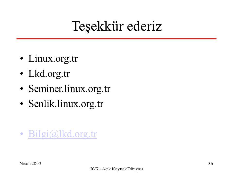 Nisan 2005 JGK - Açık Kaynak Dünyası 36 Teşekkür ederiz Linux.org.tr Lkd.org.tr Seminer.linux.org.tr Senlik.linux.org.tr Bilgi@lkd.org.tr