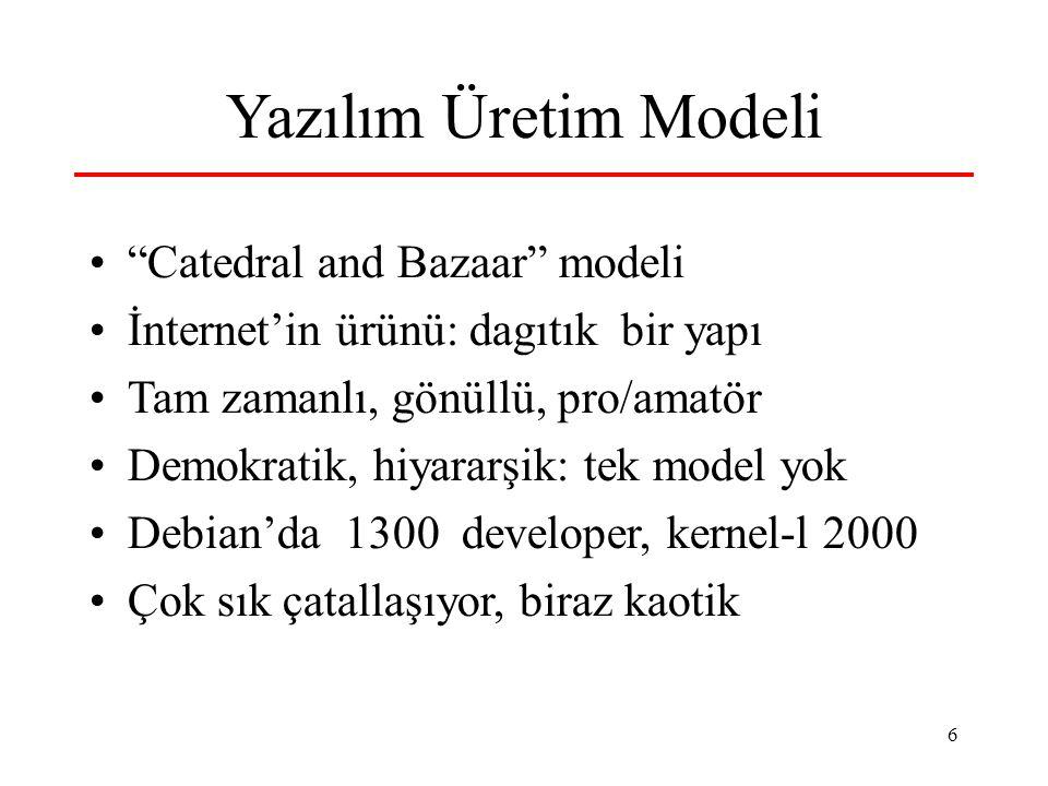 6 Yazılım Üretim Modeli Catedral and Bazaar modeli İnternet'in ürünü: dagıtık bir yapı Tam zamanlı, gönüllü, pro/amatör Demokratik, hiyararşik: tek model yok Debian'da 1300 developer, kernel-l 2000 Çok sık çatallaşıyor, biraz kaotik