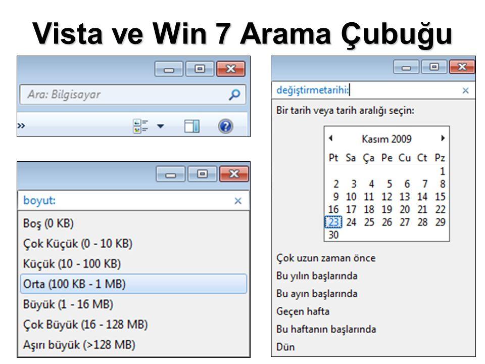 Vista ve Win 7 Arama Çubuğu